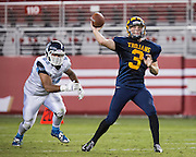 Milpitas quarterback Oliver Svirsky, 3, passes the ball down field against Valley Christian High School during Friday Night Lights at Levi's Stadium in Santa Clara, California, on September 18, 2015.  Milpitas went on to lose 22-21 against Valley Christian.  (Stan Olszewski/SOSKIphoto)