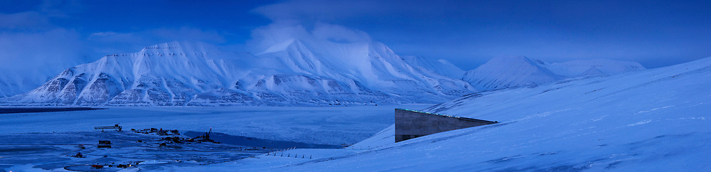 """The Svalbard Global Seed Bank, also known as the """"Doomsday"""" seed bank, in Longyearbyen, Svalbard, Norway.  Dug into the frozen mountainside above the town, the seedbank is a last chance repository for millions of seeds, that could be used to restore agriculture should a disaster wipe out many of the plants we depend upon for food."""