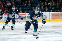 KELOWNA, CANADA, JANUARY 27: Connor Honey #14 of the Seattle Thunderbirds skates on the ice as the Seattle Thunderbirds visit the Kelowna Rockets on January 27, 2012 at Prospera Place in Kelowna, British Columbia, Canada (Photo by Marissa Baecker) *** Local Caption ***