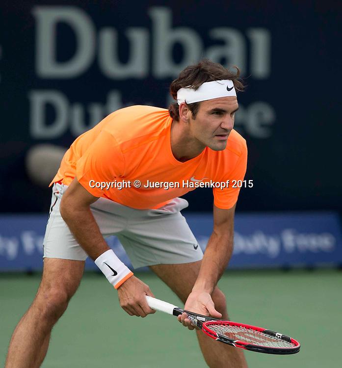 Roger Federer (SUI)<br /> <br /> Tennis - Dubai Duty Free Tennis Championships - ATP -   - Dubai -  - United Arab Emirates  - 27 February 2015. <br /> &copy; Juergen Hasenkopf