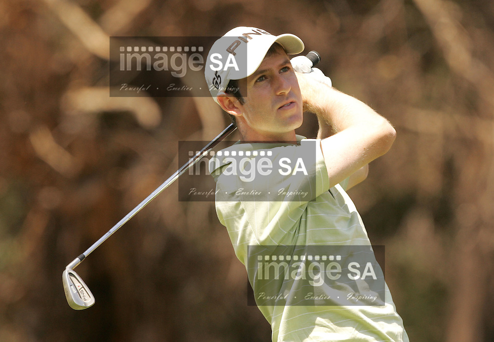 Bearing Man Highveld Classic| Peter Karmis on the tee box| Day1 of the Bearing Man Highveld Classic being held at the Witbank Golf Club in Witbank, Mpumalanga Province- Peter Karmis tees off on the par3 8th hole