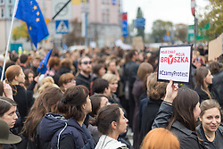 October 3, 2016 - Warsaw, Poland - Manifestation in front of  'Law and Justice' party headquarters during the women's nationwide strike in protest against a new law that would effectively ban abortion in Warsaw, Poland on 3 October 2016. (Credit Image: © Mateusz Wlodarczyk/NurPhoto via ZUMA Press)