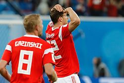 June 19, 2018 - Saint Petersburg, Russia - Artem Dzyuba (C) of Russia national team celebrates his goal during the 2018 FIFA World Cup Russia group A match between Russia and Egypt on June 19, 2018 at Saint Petersburg Stadium in Saint Petersburg, Russia. (Credit Image: © Mike Kireev/NurPhoto via ZUMA Press)