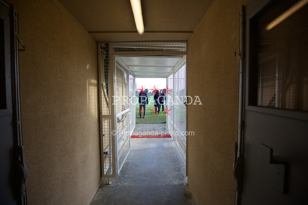 TOULOUSE, FRANCE - Tuesday, January 26, 2016: Corridor leading to the pitch at the Stade Robert Barran on an inspection visit ahead of the UEFA Euro 2016 Tournament. (Pic by David Rawcliffe/Propaganda)
