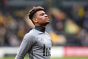 Nottingham Forest midfielder, on loan from Aston Villa, Aaron Tshibola (15) warming up during the EFL Sky Bet Championship match between Burton Albion and Nottingham Forest at the Pirelli Stadium, Burton upon Trent, England on 11 March 2017. Photo by Jon Hobley.