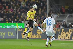 "28.01.2012, Signal Iduna Park, Dortmund, GER, 1. FBL, Borussia Dortmund vs 1899 Hoffenheim, 19. Spieltag, im Bild Andreas Beck (Hoffenheim #2), Robert Lewandowski (Dortmund #9), Daniel Williams (Hoffenheim #13) // during the football match of the german ""Bundesliga"", 19th round, between GER, 1. FBL, Borussia Dortmund and 1899 Hoffenheim, at the Signal Iduna Park, Dortmund, Germany on 2012/01/28. EXPA Pictures © 2012, PhotoCredit: EXPA/ Eibner/ Ulrich Roth..***** ATTENTION - OUT OF GER *****"