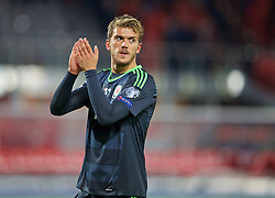 VIENNA, AUSTRIA - Thursday, October 6, 2016: Wales' Emyr Huws applauds the travelling supporter after the 2018 FIFA World Cup Qualifying Group D 2-2 draw with Austria at the Ernst-Happel-Stadion. (Pic by David Rawcliffe/Propaganda)