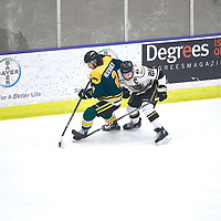 1st year defence man, James Hilsendager (2) of the Regina Cougars during the Men's Hockey Home Game on Sat Jan 19 at Co-operators Center. Credit: Arthur Ward/Arthur Images