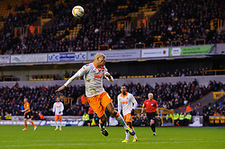 Blackpool Defender Alex John-Baptiste (ENG) heads the ball during the second half of the match - Photo mandatory by-line: Rogan Thomson/JMP - Tel: Mobile: 07966 386802 26/01/2013 - SPORT - FOOTBALL - Molineux Stadium - Wolverhampton. Wolverhampton Wonderers v Blackpool - npower Championship.