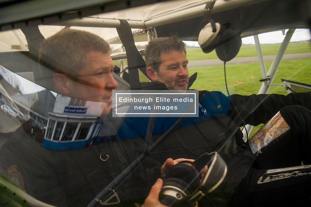 Pictured: Willie Rennie and pilot Norman Sutherland.<br /> <br /> Scottish Liberal Democrat leader Willie Rennie took to the skies as he joined the UK Civil Air Patrol for a training flight in Perth. Mr Rennie took the opportunity to set out Liberal Democrat plans to restore local accountability and decision making within Police Scotland. The UK Civil Air Patrol provides airborne assistance for agencies, groups or individuals who would otherwise not have access to such a facility. Until 2013 the service regularly assisted Police officers with air searches in missing person cases. This ended following the creation of Police Scotland.  <br /> Ger Harley | EEm 12 April 2016