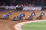 Jason Doyle hits the turn first during the 2019 Adrian Flux British FIM Speedway Grand Prix at the Principality Stadium, Cardiff, Wales on 21 September 2019.