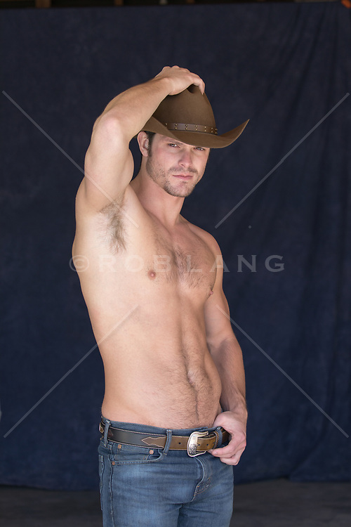 sexy shirtless hot cowboy
