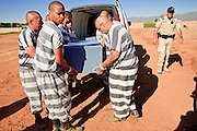 "18 MARCH 2010 - SURPRISE, AZ: County inmate Payne (LAST NAME ONLY) and other inmates on the ""Chain Gang"" pull a casket out of the funeral home panel van during the interment of indigent county residents in White Tanks Cemetery on Camelback Rd. in an unincorporated part of the county near Surprise. The county spent about $2.5 million to inter indigent people in what is Maricopa County's ""potters field."" About 3,000 people, children and adults, are buried in the dusty field west of Phoenix.      PHOTO BY JACK KURTZ"