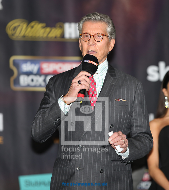 Michael Buffer announcing the fighters during the weigh in for the Joshua v Molina IBF Heavyweight title fight at Victoria Warehouse, Manchester<br /> Picture by James Wilson/Focus Images Ltd 07709 548263<br /> 09/12/2016