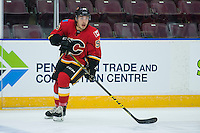 PENTICTON, CANADA - SEPTEMBER 16: Ryan Lomberg #56 of Calgary Flames warms up against the Winnipeg Jets on September 16, 2016 at the South Okanagan Event Centre in Penticton, British Columbia, Canada.  (Photo by Marissa Baecker/Shoot the Breeze)  *** Local Caption *** Ryan Lomberg;