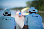 Plovdiv BULGARIA. 2017 FISA. Rowing World U23 Championships. French Coach. Watch the   CAN. BW8+, getting ready to boat, <br /> <br /> Wednesday. AM, general Views, Course, Boat Area<br /> 09:28:59  Wednesday  19.07.17   <br /> <br /> [Mandatory Credit. Peter SPURRIER/Intersport Images].