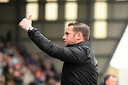 Notts county Manager Kevin Nolan gives a thumbs-up to the Notts County supporters during the EFL Sky Bet League 2 match between Notts County and Coventry City at Meadow Lane, Nottingham, England on 7 April 2018. Picture by Jon Hobley.
