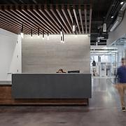Office interior reception desk area.