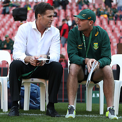Rassie Erasmus (Head Coach) of South Africa with Jacques Nienaber (Defence Coach) of South Africa during the 2018 Castle Lager Incoming Series 1st Test match between South Africa and England at Emirates Airline Park,<br /> Johannesburg.South Africa. 09,06,2018 Photo by (Steve Haag Sports)