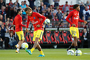 Neymar da Silva Santos Junior - Neymar Jr (PSG), Javier Matias Pastore (psg), Christopher Alan NKUNKU (psg) at warm up with the ball during the French championship L1 football match between EA Guingamp v Paris Saint-Germain, on August 13, 2017 at the Roudourou stadium in Guingamp, France - Photo Stephane Allaman / ProSportsImages / DPPI