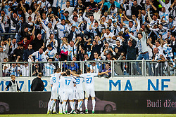 Fans of HNK Rijeka and players of HNK Rijeka after scoring Franko Andrijasevic #23 of HNK Rijeka, Mario Gavranovic #17 of HNK Rijeka, Marko Vesovic #29 of HNK Rijeka during football match between HNK Rijeka and GNK Dinamo Zagreb in Round #27 of 1st HNL League 2016/17, on November 5, 2016 in Rujevica stadium, Rijeka, Croatia. Photo by Grega Valancic / Sportida