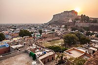 Looking up towards Mehrangarh Fort which stands above the city of Jodhpur, Rajasthan, India.
