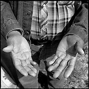 "Hands of Joseph Flying By (1917-2000), a Lakota medicine man, on Rattlesnake Butte, SD. His Lakota name is Kangi Ho Tanka, which means ""Crow with a Loud Voice."""