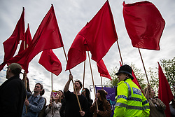 © Licensed to London News Pictures . 22/05/2019. Salford, UK. ANTI-FASCIST PROTESTERS at the rally . Former EDL leader Stephen Yaxley-Lennon (aka Tommy Robinson ) holds a campaign rally at the derelict Mocha Parade shopping precinct in Salford , opposed by anti-fascists . Yaxley-Lennon is running for a seat in the European Parliament representing the North West of England . Photo credit: Joel Goodman/LNP