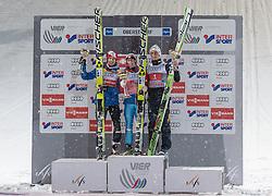 29.12.2014, Schattenbergschanze, Oberstdorf, GER, FIS Ski Sprung Weltcup, 63. Vierschanzentournee, Podium, im Bild vl. zweiter Platz Michael Hayboeck (AUT), Sieger Stefan Kraft (AUT), dritter Platz Peter Prevc (SLO) // from left to right second Placed Michael Hayboeck of Austria, Winner Stefan Kraft of Austria, third Place Peter Prevc of Slovenia celebrate on Podium of 63 rd Four Hills Tournament of FIS Ski Jumping World Cup at the Schattenbergschanze, Oberstdorf, Germany on 2014/12/29. EXPA Pictures © 2014, PhotoCredit: EXPA/ Peter Rinderer