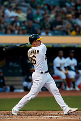 OAKLAND, CA - SEPTEMBER 21:  Matt Chapman #26 of the Oakland Athletics at bat against the Texas Rangers during the first inning at the RingCentral Coliseum on September 21, 2019 in Oakland, California. The Oakland Athletics defeated the Texas Rangers 12-3. (Photo by Jason O. Watson/Getty Images) *** Local Caption *** Matt Chapman