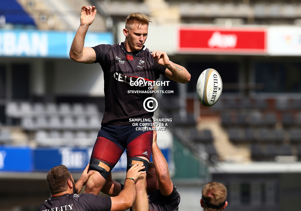 Daniel Du Preez during The Cell C Sharks captain's run at Growthpoint Kings Park in Durban, South Africa. 3rd August 2017(Photo by Steve Haag)<br /> <br /> images for social media must have consent from Steve Haag