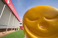 A yellow jelly baby statue out the front of the Cairns Jute Theatre