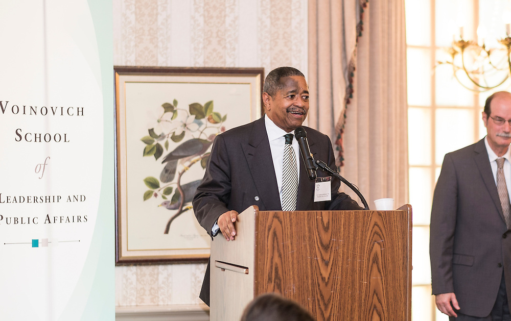 Ohio University President Roderick McDavis offers some closing remarks during the 32nd Annual Ohio University State Government Alumni Luncheon on Tuesday, May 5, 2015.  Photo by Ohio University  /  Rob Hardin