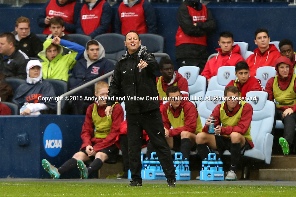 13 December 2015: Stanford head coach Jeremy Gunn. The Clemson University Tigers played the Stanford University Cardinal at Sporting Park in Kansas City, Kansas in the 2015 NCAA Division I Men's College Cup championship match. Stanford won the game 4-0.