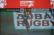 DUBAI, UNITED ARAB EMIRATES - Thursdays 30 November 2017, the final score on the scoreboard (40-0) to New Zealand during HSBC Emirates Airline Dubai Rugby Sevens match between South Africa and New Zealand at The Sevens Stadium in Dubai.<br /> Photo by Roger Sedres/ImageSA