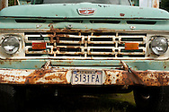 An old farm truck at an organic farm near Palmer, Alaska.