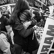 Tens of thousands gathered in downtown Los Angeles to participate in the March For Our Lives protest march. Marches were held in over 800 cities worldwide to protest school shootings and advocate for gun control. The protest was organized after 17 kids were killed in a mass shooting at Stoneman Douglas High School in Parkland, Florida. Lauren Zeoli hugs her son, Kaine Zeoli, 12, who attends Lincoln Middle School, while speakers sing a tribute to the Parkland shooting.