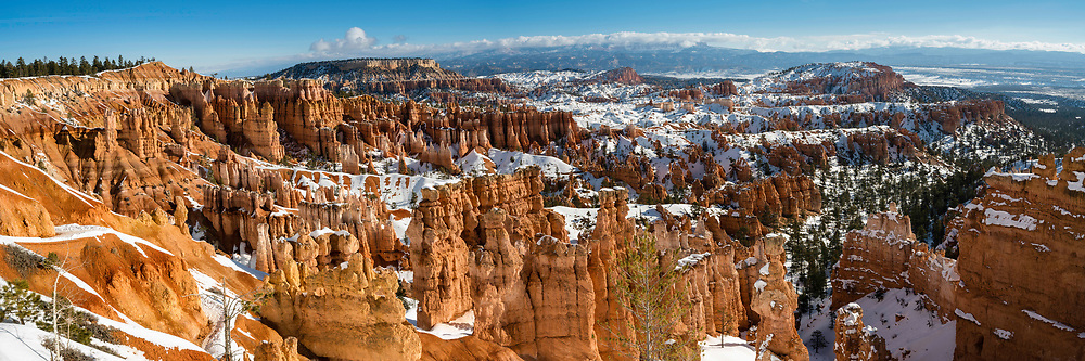 Panoramic view from the Navajo Loop trail at Sunset Point in Bryce Canyon National Park, one of Utah's Mighty 5 National Parks on a sunny Winter day.