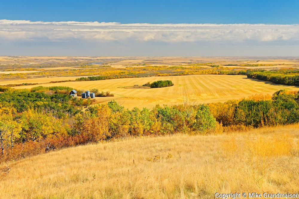 Canadian prairie from a high vantage point<br /> Baljennie<br /> Saskatchewan<br /> Canada