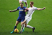 AFC Wimbledon defender & captain Barry Fuller (2) and Milton Keynes Dons defender Dean Lewington (3) during the EFL Sky Bet League 1 match between Milton Keynes Dons and AFC Wimbledon at Stadium MK, Milton Keynes, England on 10 December 2016. Photo by Stuart Butcher.