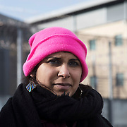 Jo Ram of the Stansted 15. Photographed  outside Harmondsworth Immigration Removal Centre, near Heathrow Airport, West London.