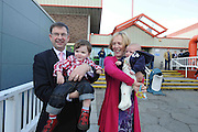 Eamon O Cuiv with his wife Aine and grandsons Eamon 18 months and Sean 3 months at the Galway West count centre. Photo:Andrew Downes