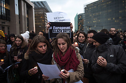 Migrants supporters hold the protest in front of European Commission and European Council headquarters in Brussels, Belgium on 16.03.2016 People take part in an Blackdays solidarity wake along with migrants one day before an EU Summit with Turkey. The protesters want to denounce the refoulement policy that Europe considers to put in place as well as the violation of international conventions. EXPA Pictures © 2016, PhotoCredit: EXPA/ Photoshot/ Wiktor Dabkowski<br /> <br /> *****ATTENTION - for AUT, SLO, CRO, SRB, BIH, MAZ, SUI only*****