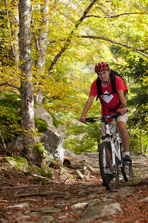 Mountain biker in autumn scenery