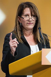 © Licensed to London News Pictures . 04/10/2014 . Glasgow , UK . LYNNE FEATHERSTONE MP , Junior Minister with responsibility for International Development , addresses the conference . The Liberal Democrat Party Conference 2014 at the Scottish Exhibition and Conference Centre in Glasgow . Photo credit : Joel Goodman/LNP