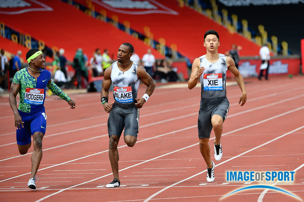 Michael Rodgers (USA) left, winning his heat of the men's 100m in a time of 10.16 ahead of Yohan Blake (JAM) centre, and Zhenye Xie (CHN) during the Birmingham Grand Prix, Sunday, Aug 18, 2019, in Birmingham, United Kingdom. (Steve Flynn/Image of Sport)