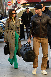 Victoria and David Beckham arrive at Gare du Nord station. Paris, January 18th Photo by Abacapress.com