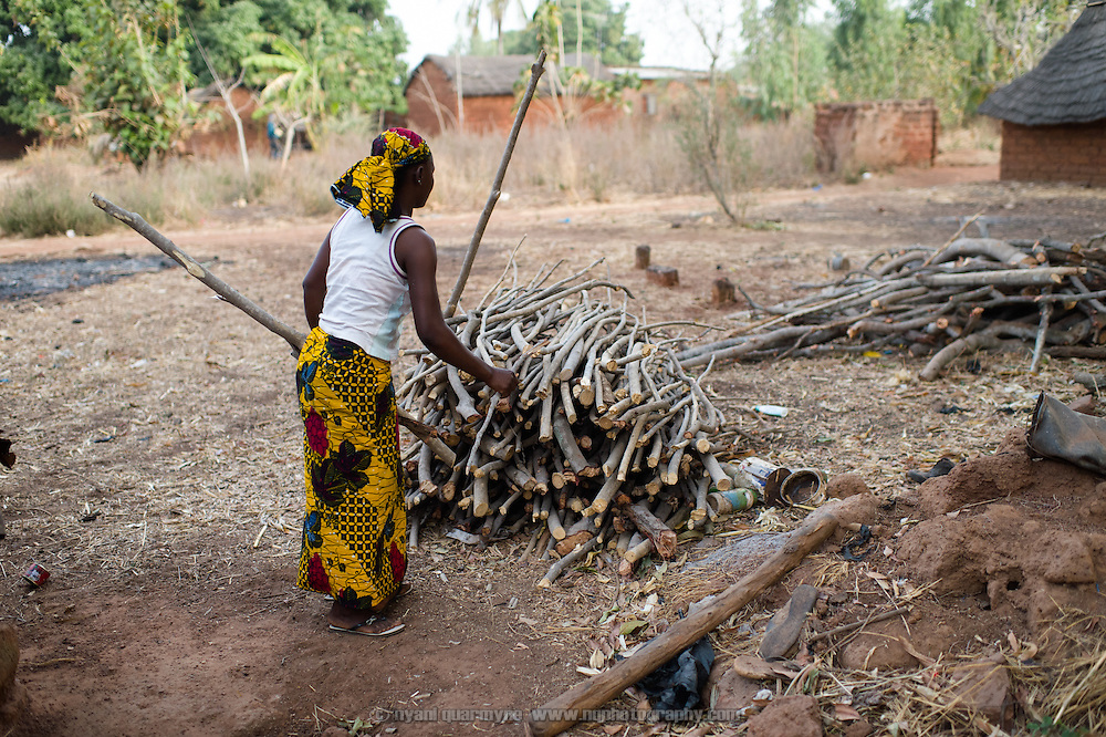 Marie Madeleine Ouattara fetching firewood for her cooking fire in the village of Toussiana in the Hauts-Bassins region of Burkina Faso, on 22 February 2016.