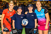 Future Captains Neve and Bridie McErlain with Jane Watson of the Tactix and Te Huinga Reo Selby-Rickit of the Steel during the ANZ Premiership Netball match, Tactix v Steel, Horncastle Arena, Christchurch, New Zealand, 11th February 2019.Copyright photo: John Davidson / www.photosport.nz