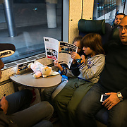 Father Muhammed from Syria with three of his 4 children on the train to Sweden and safety.  His wife is wheel chair bound due to loosing a leg during bombings and she had to stay behind.  An unprecedented number of refugees arrived from Germany in early September, most being Syrian war refugees, some from Afghanistan. Most wanted to travel on to Sweden and a number of Danish citizens created a spontanious network to assist the refugees with travel, food, clothes and psycological support.